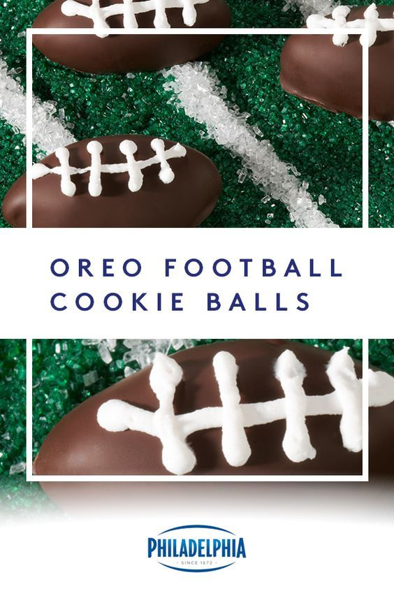"Get in the football spirit with these OREO Football Cookie Balls. Combining cookies, chocolate and PHILADELPHIA Cream Cheese is what we call ""winning snack time."" #ItMustBeThePhilly"
