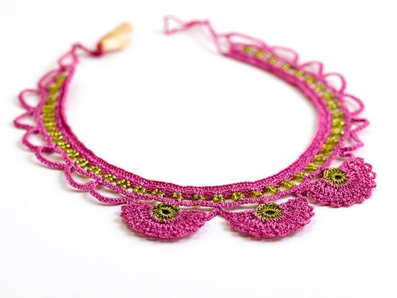 Pink Crochet Lace Statement Necklace Choker by PinaraDesign