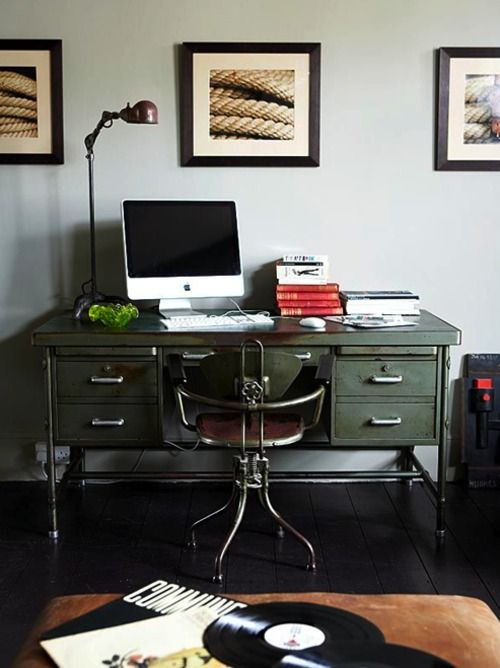 Pretty cool industrial style desk.Desks Chairs, Offices Spaces, Work Spaces, Workspaces, Industrial Desks, Industrial Offices, Metals Desks, Vintage Desks, Home Offices