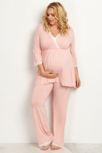Pink Lace Trim Plus Size Maternity Pajama Pant