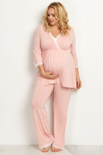 Pink Lace Trim Plus Size Maternity Pajama Pant