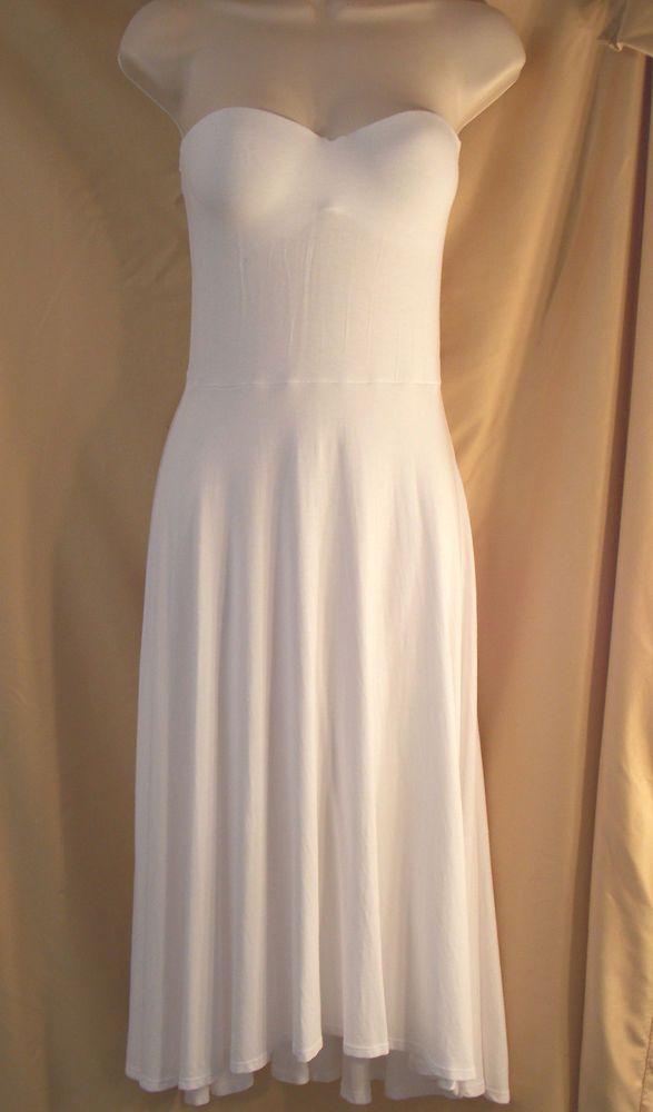 $79 Victoria's Secret MADI Bra Top Strapless Push-Up Hi-Low Dress 32B White DK9 #VictoriasSecret #Sundress #SummerBeach