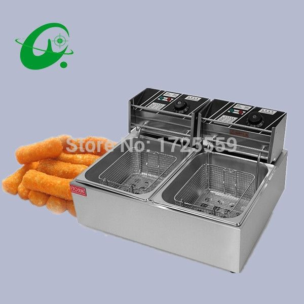 132.00$  Know more  - Double Tank Electric Fryer, 12L Commercial Deep Fryer With Temperature Control, Manual Control or Machanic Timer