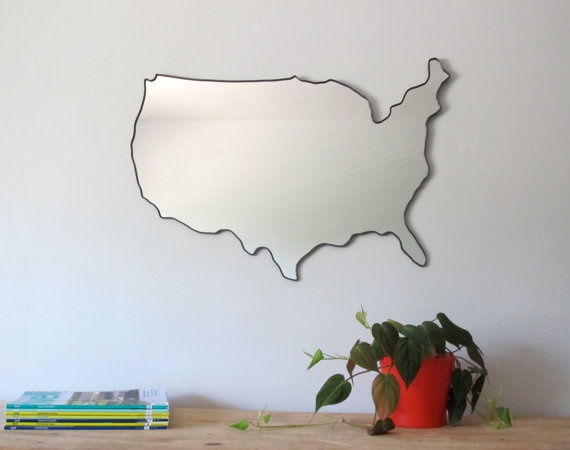 United States of America Mirror by fluxglass on Etsy, $210.00