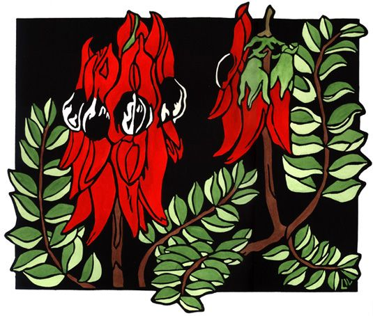 Sturt Desert Pea Design - Limited Edition Handpainted Linocuts by Lynette Weir