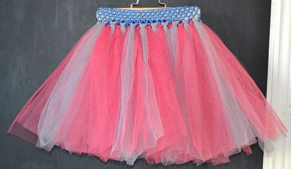 Pink and Grey Tutu with Blue Wasitband. by MajackalCreations, $20.00