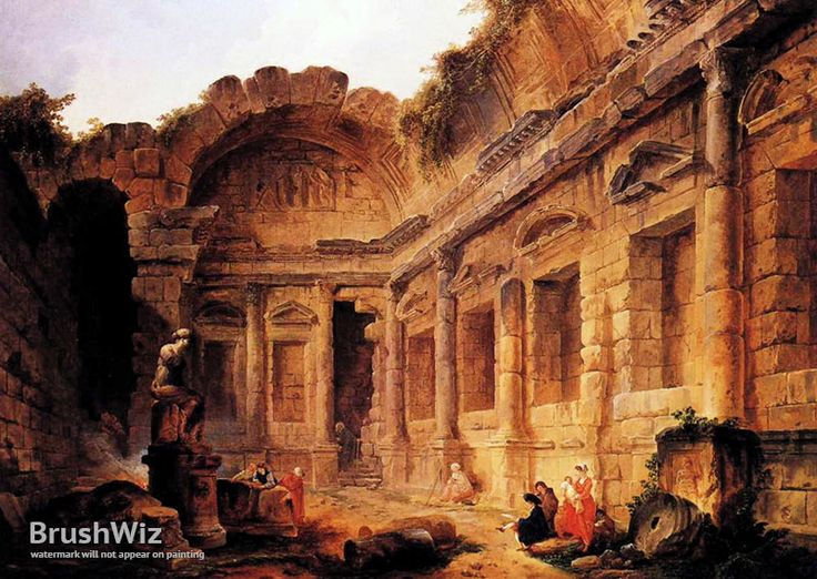 Interior Of The Temple Of Diana At Nimes by Hubert Robert - Oil Painting Reproduction - BrushWiz.com