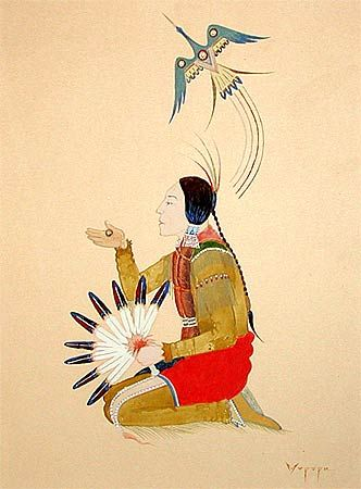 Peyote Prayer Stephen Mopope - Kiowa (1898- 1974) watercolor on paper. Native American Church - Peyote Religious Art - Native American Church Art