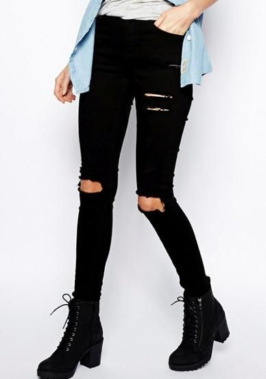 Jeans Black Slim Cut Ripped Pants