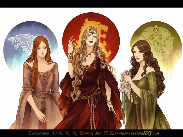 Three Queens of Game Of Thrones: Sansa of Winterfell, Cersei of Casterly Rock, and Margaery of Highgarden by Zephyrhant.deviantart.com on @deviantART