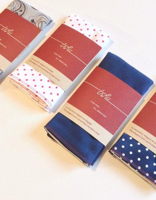 TSHU, la marque Montréalaise engagée. Pour chaque mouchoir vendu, TSHU plante un arbre TSHU : Assortiment de 4 mouchoirs de coton doublés | Idée Cadeau Québec