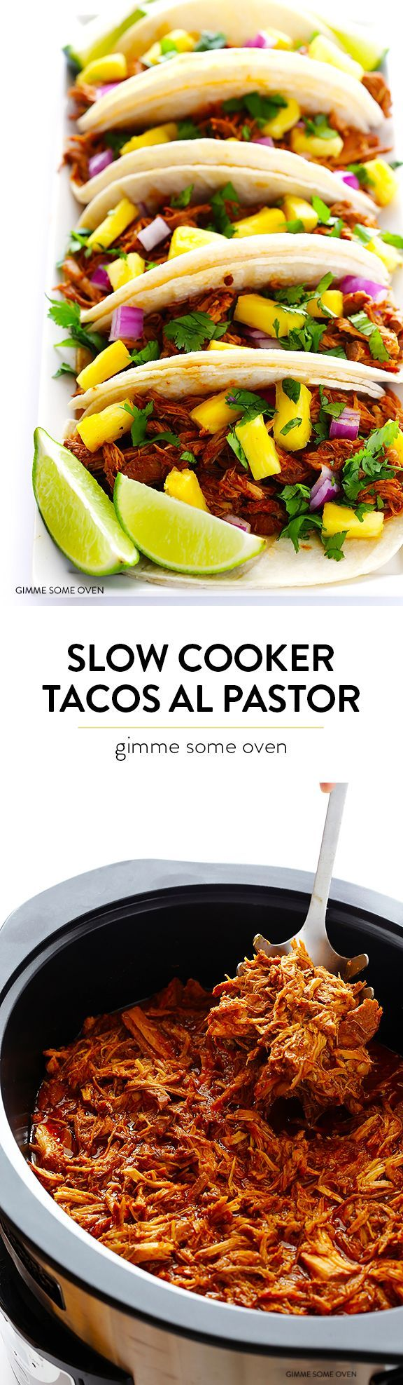 Slow Cooker Tacos Al Pastor -- let your crock pot do all of the work with this traditional pineapple pork tacos recipe! So delicious and always a crowd favorite!