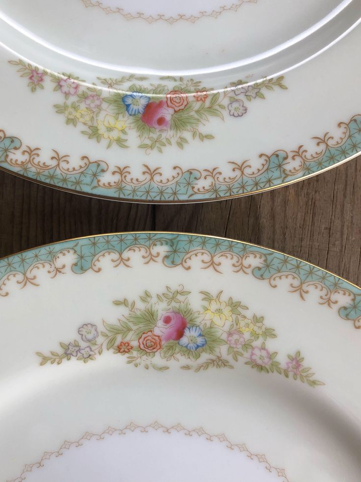 Excited to share the latest addition to my #etsy shop: 2 Craftsman China Dinner Plates Rare Retro Floral Pattern CRF3 Made Japan Aqua Pink Gold Filigree