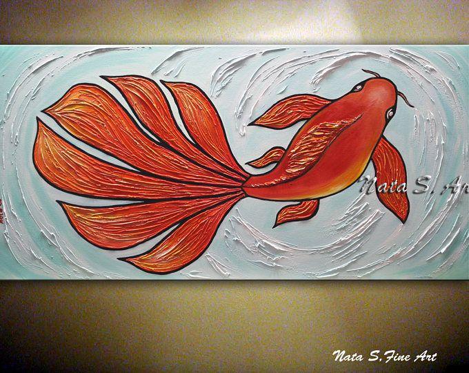 """KOI pesce Abstract Painting, originale martellata accenti decorativi, pittura, Oggettistica per la casa e ufficio di pesce grande opera d'arte, arte moderna 24 """"x 48"""" di Nata S"""