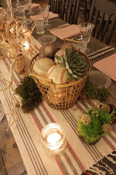 Hello Darling - Organic Vintage Sports Bar Mitzvah: baseballs, moss,and succulent in an old wire basket