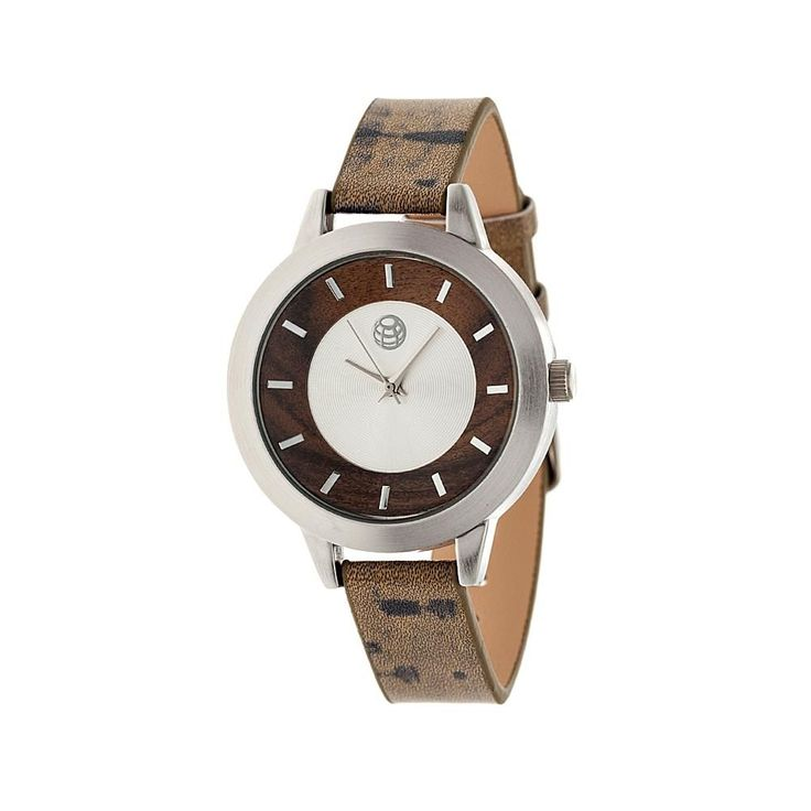 """Earth Wood Goods Watches Earth Wood """"Autumn"""" Silvertone and Wood Dial Watch with Brown Strap"""