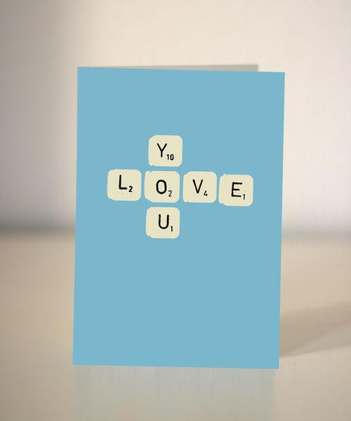 Valentine's Day – Valentine's card - Love you scrabble card – a unique product by Ilka-Dickens on DaWanda