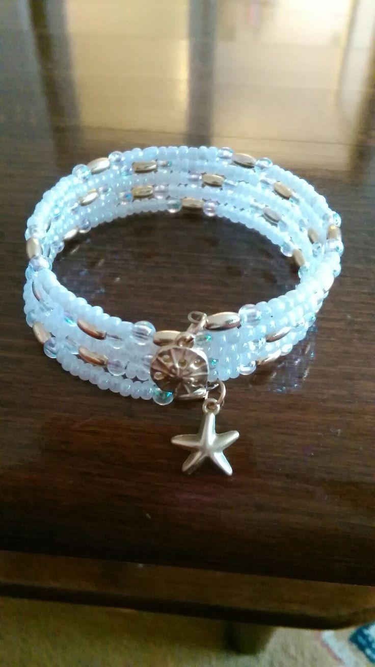 Bielo-zlatý náramok/memory wire bracelet