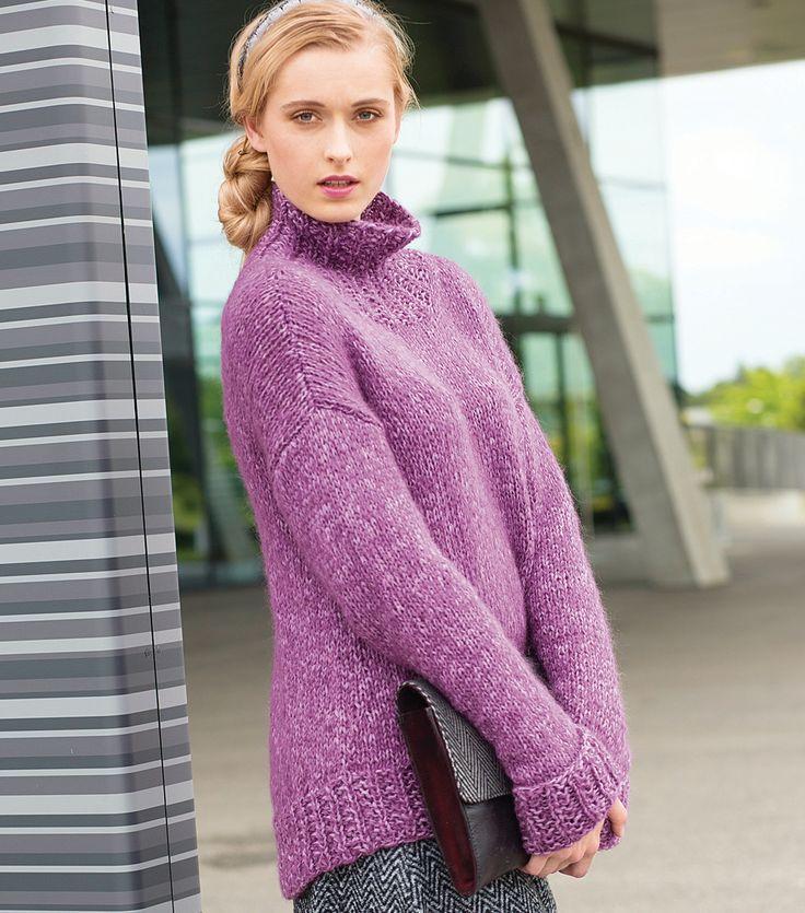 Просторный свитер с удлиненной спинкой спицами. Просто класс!
