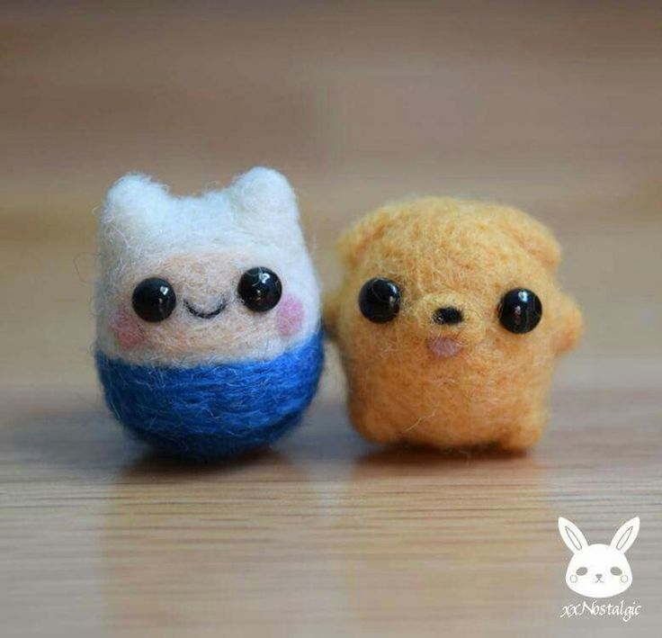 Finn and jake crotchet <<<not crotchet, needle felting. Get your crafts straight.