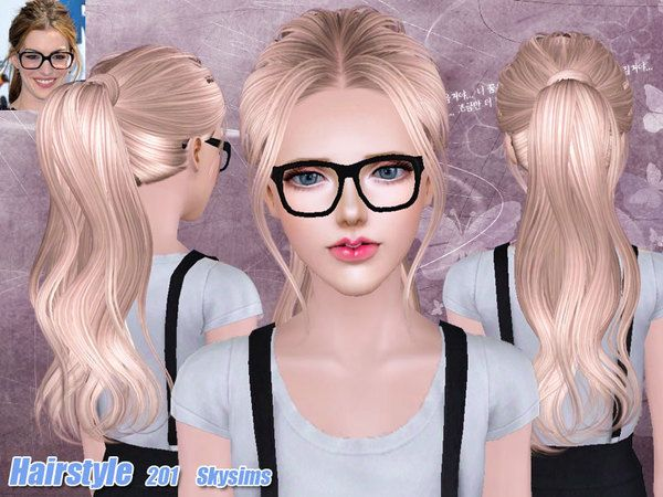 Back wrapped ponytail hairstyle 201 by Skysims for Sims 3 - Sims Hairs - http://simshairs.com/back-wrapped-ponytail-hairstyle-201-by-skysims/