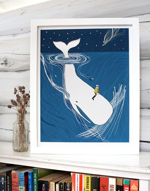 Whale Rider nursery art Whimsical whale drawing for by sloeginfizz, $32.00