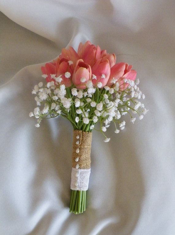 Coral Real Touch Tulip Bouquet with Baby's Breath Collar