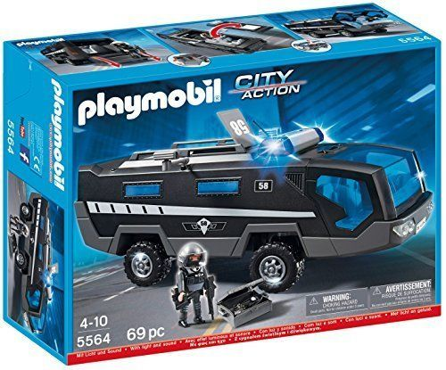 Playmobil City Action Police Tactical Command Vehicle Toy Gift Sound Figure Ligh