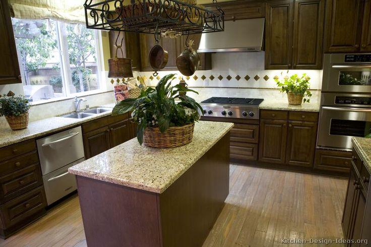 Traditional dark wood walnut kitchen cabinets 40 kitchen for Traditional kitchen color schemes
