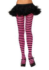 Neon Pink Black Striped Roller Derby Tights Halloween Costume Stockings o/s