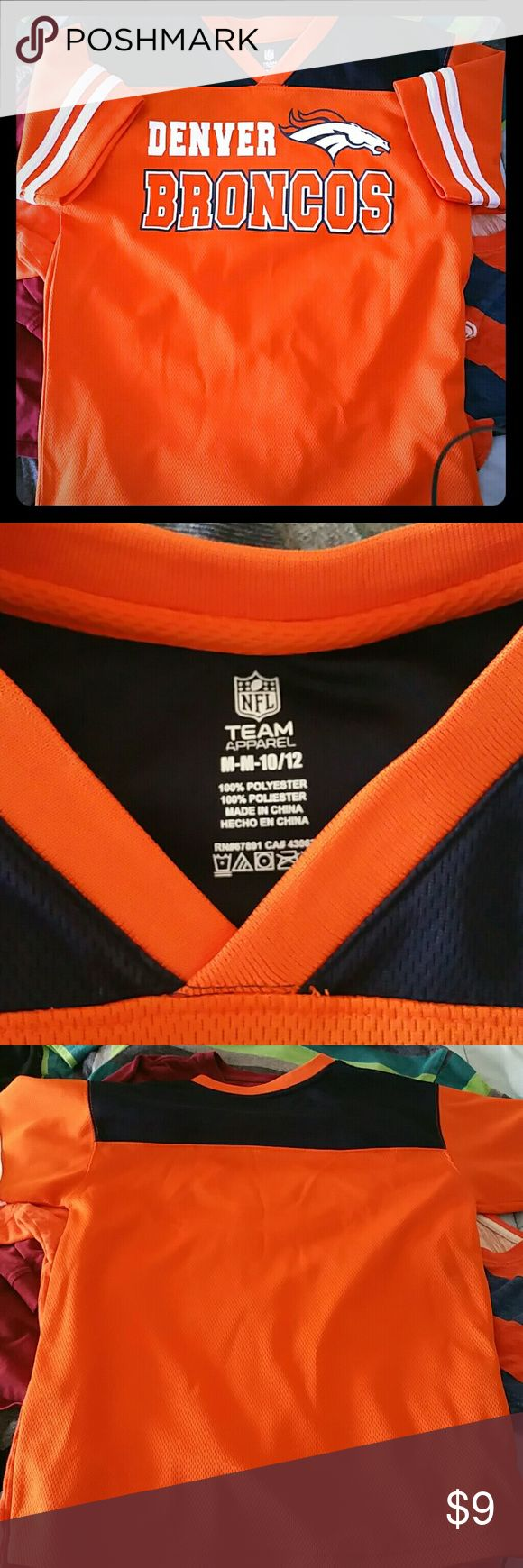 Broncos thermal t shirt Jersey feel,  V-neck Broncos shirt, never worn! Like new,  no snags or stains! NFL Team Apparel Shirts & Tops Tees - Short Sleeve