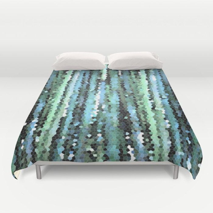 Blue Duvet Cover, Full Queen King Duvet, Abstract Bamboo Pixel Art, Teal Bed Cover, Aqua Duvet Cover, Modern Bedding, Blue Comforter Cover by OlaHolaHolaBaby on Etsy
