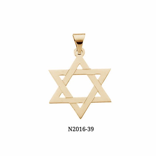 14K Gold Traditional Star of David Pendant (chain not included)