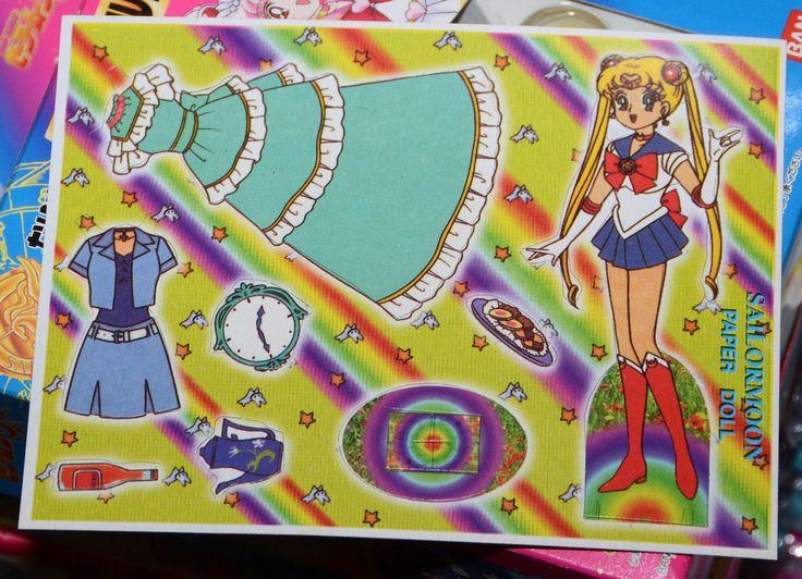 Sailor Moon paper doll sheet vintage blue dress Usagi