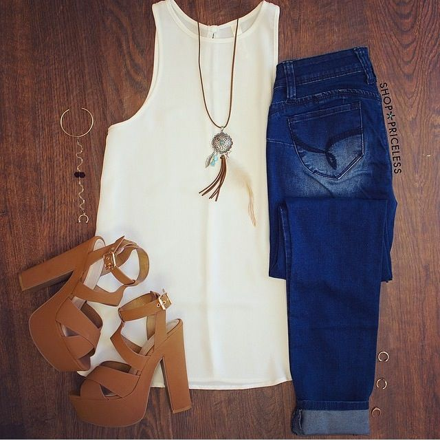 Jeans and wedges