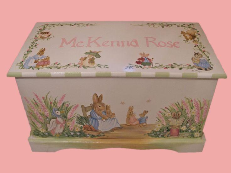 Custom Designed Bunny Rabbit  Toy box inspired by Peter Rabbit. $299.00, via Etsy.