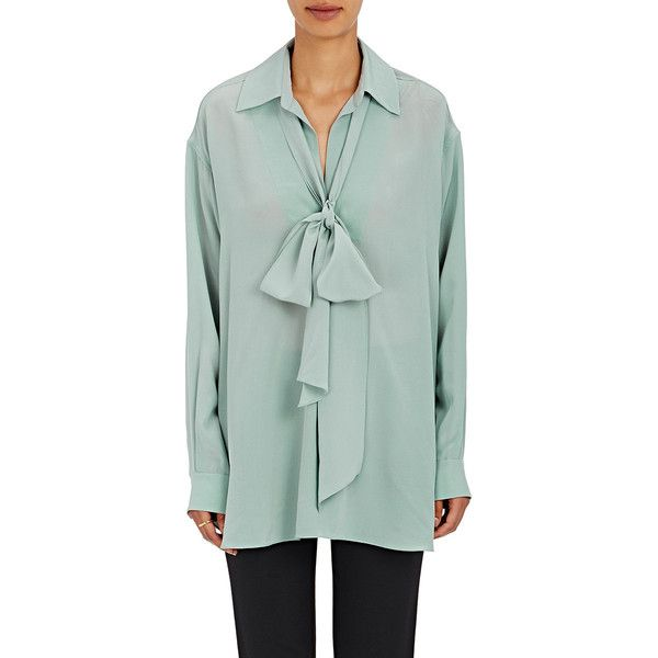 Chloé Women's Tieneck Blouse ($1,095) ❤ liked on Polyvore featuring tops, blouses, grey, gray blouse, chloe blouse, tie neck tie, silk neck ties and silk tie neck blouse