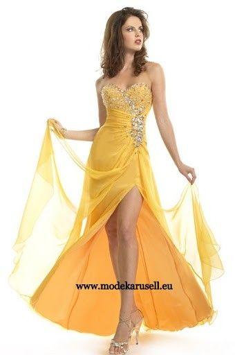 Abendmode Abendkleid in Gelb