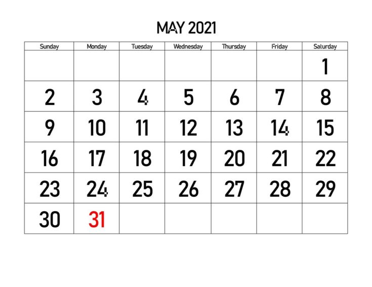 May 2021 Calendar Word Blank Template|Instant Download in ...