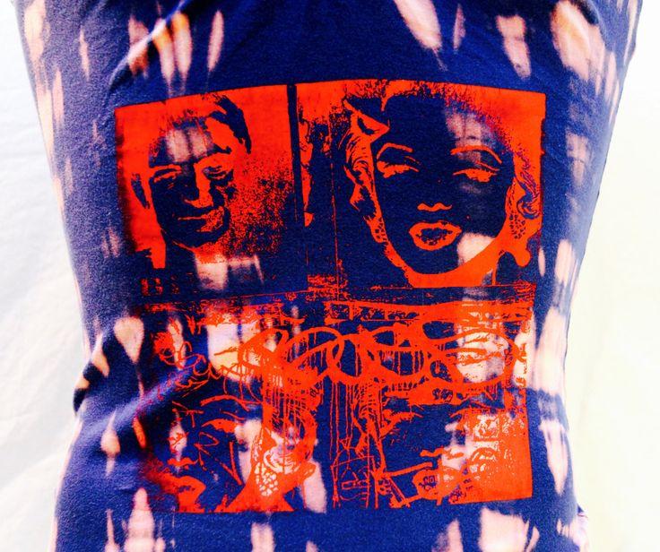 T-shirt tie-dye inversé et sérigraphie Marilyn pour femme de la boutique Letnoun sur Etsy