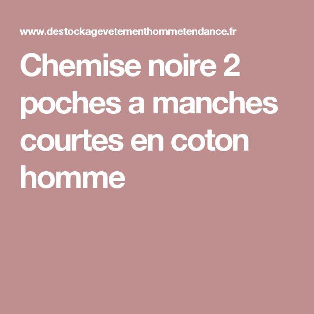 Chemise noire 2 poches a manches courtes en coton homme