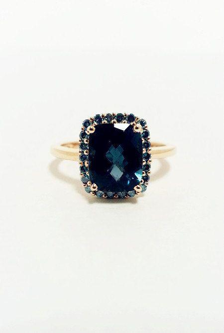 London Blue Topaz with Blue Diamonds Ring -- 14K Yellow Gold