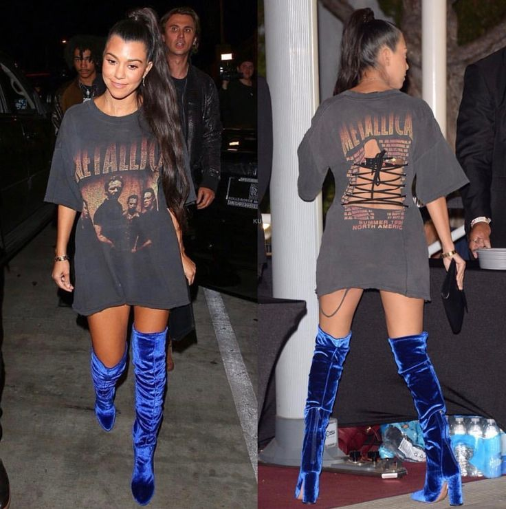 b44c773e Thigh high boots. Blue velvet boots. Band tshirt. Tshirt dress | Fashion  Ideas in 2019 | Fashion, Tshirt dress outfit, Dress outfits