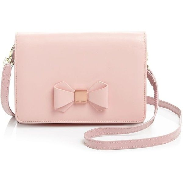 Ted Baker Bow Crossbody ($69) ❤ liked on Polyvore featuring bags, handbags, shoulder bags, purses, bolsas, accessories, pink, nude pink, pink crossbody and pink shoulder bag