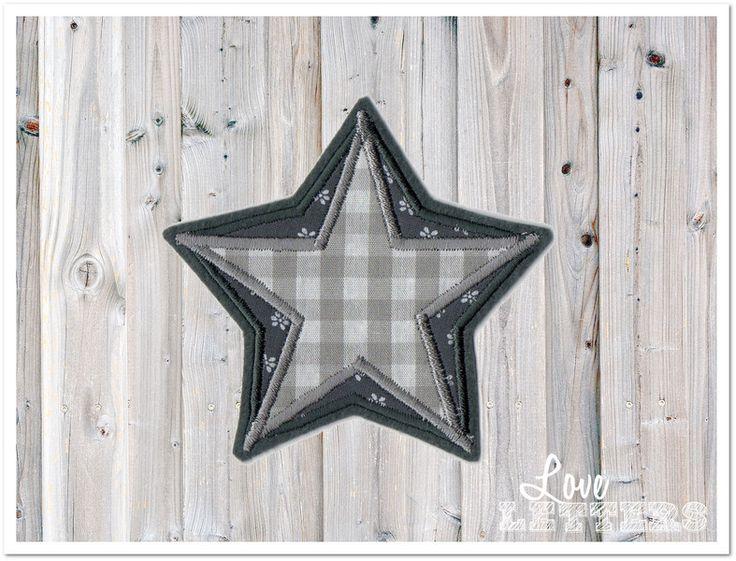 Bügelbilder - Applikation Stern zweifarbig grau weiß Aufnäher - ein Designerstück von Love_Letters bei DaWanda