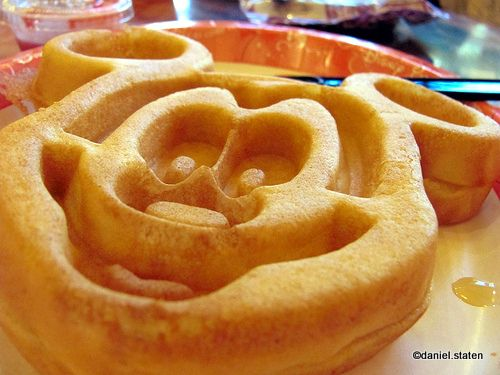 I do not eat carbs, nor do I like sweets for breakfast but the thought of a Mickey Waffle makes me swoon.  Made with eye of newt and some batwings, these are sheer magic!