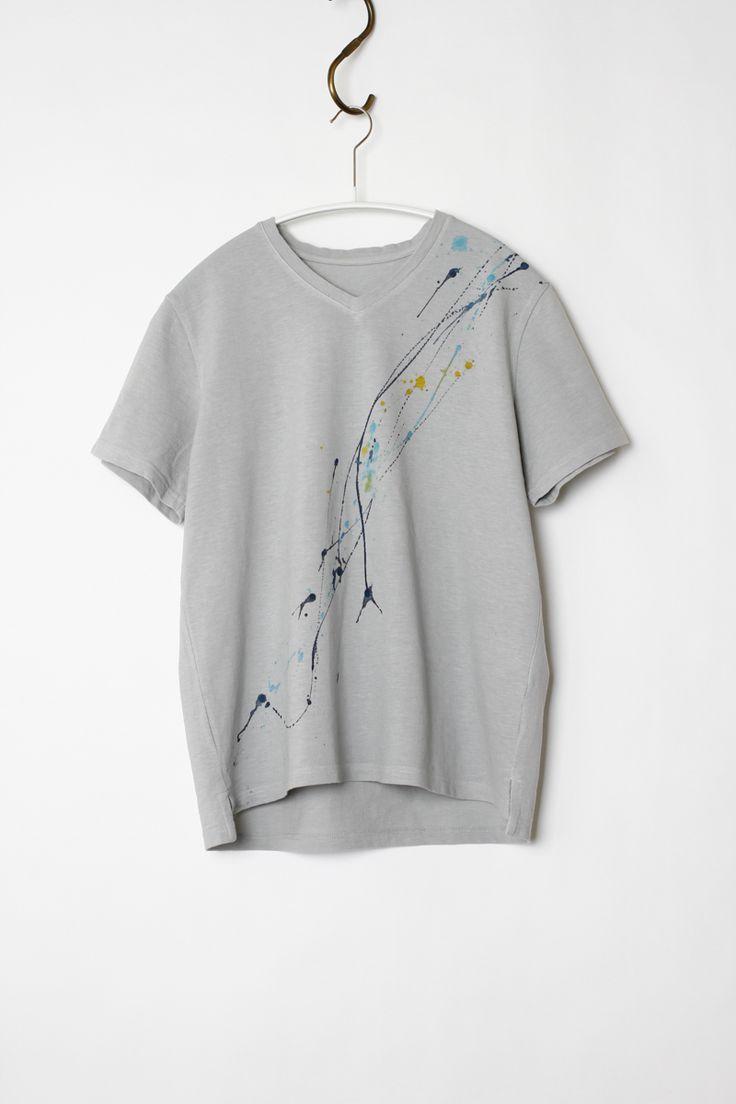 [ふぶき染めTシャツ|レディース]Lサイズ製品染め特有の優しいカラー、風合いが特徴の一点物Tシャツ。鹿の子編みで編まれた着心地に優れたTシャツです。