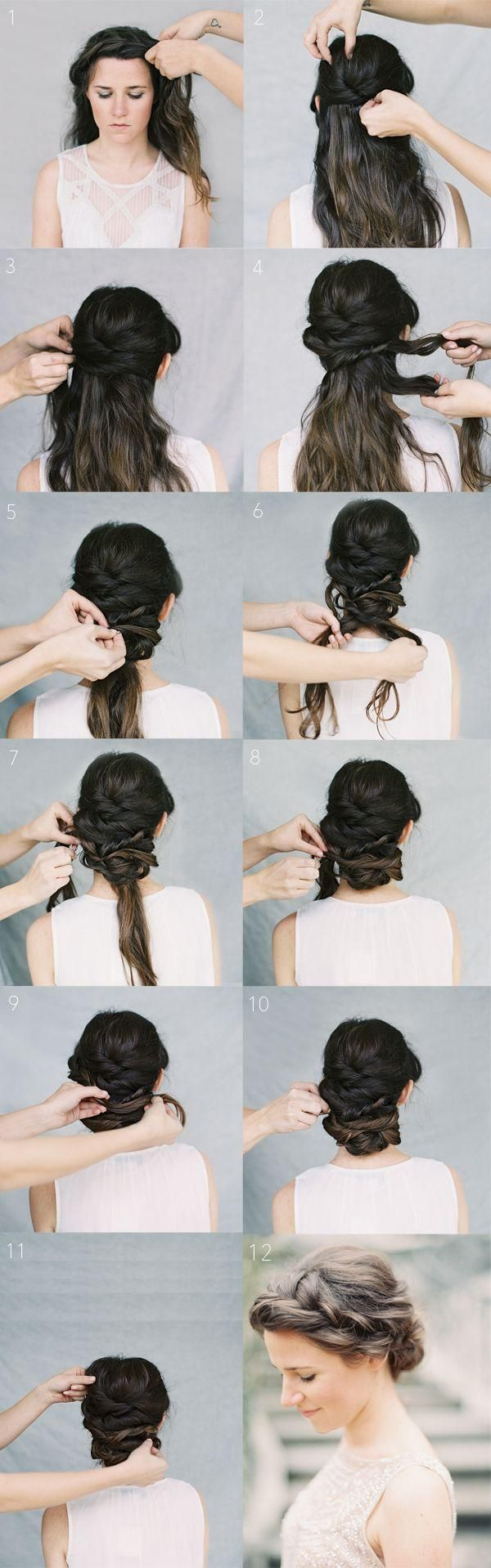 gorgeous crown braid chignon.#chignon #hair