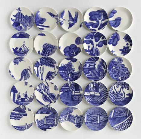 Molly Hatch uses ceramic plates to create an unusual canvas
