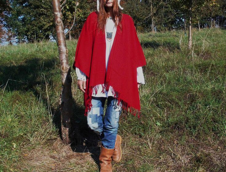 Capes & Ponchos - Boho Hippie Festival Poncho*NAVAJO RED*Ethno Style - ein Designerstück von santa-fee bei DaWanda